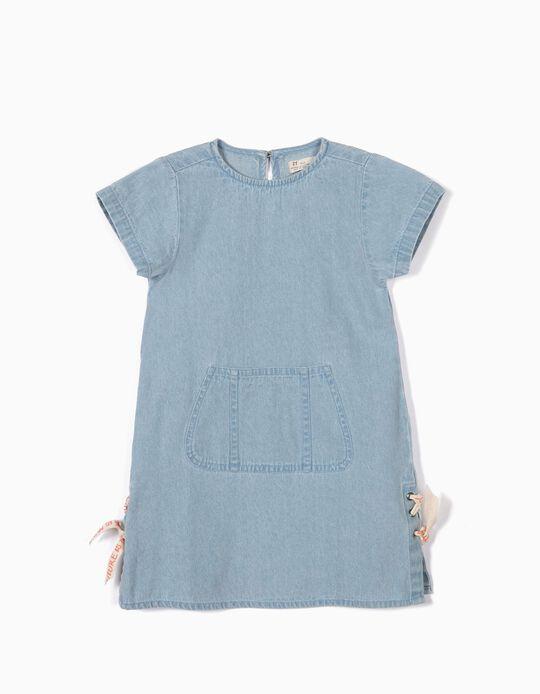 Vestido de Ganga para Menina com Aplicações Laterais, Azul Claro
