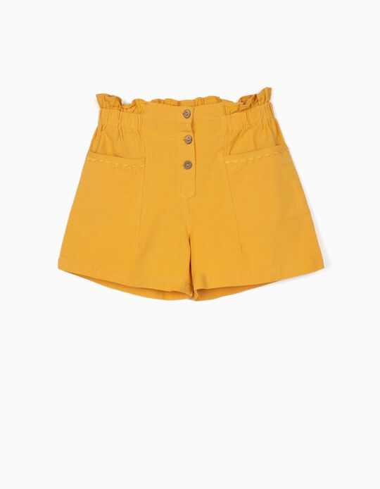 Calções com Linho para Menina, Amarelo
