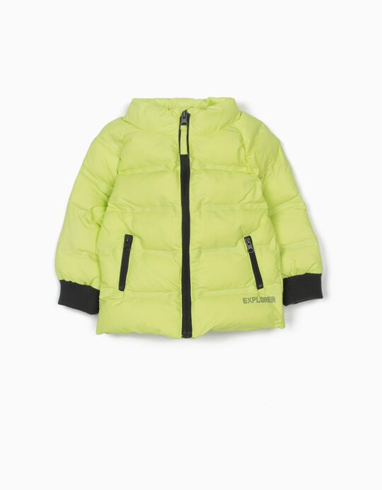 Padded Jacket for Baby Boys, 'Explorer', Lime Yellow