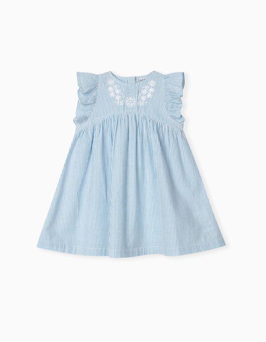 Vestido às Riscas, Bebé Menina, Azul