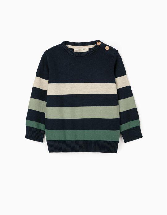 Striped Jumper for Baby Boys, Blue/Green/Beige