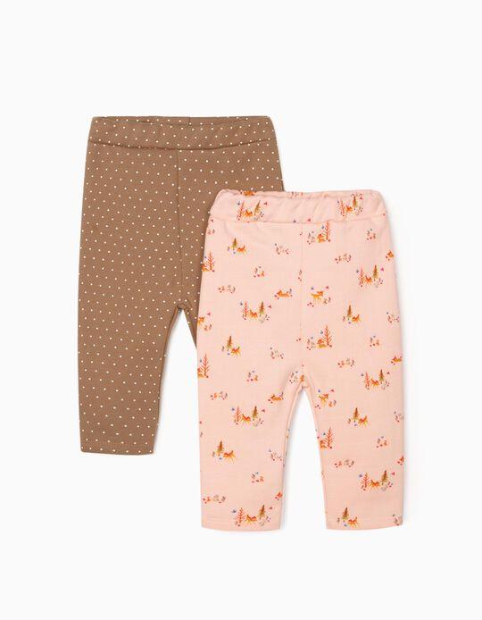 2 Leggings for Baby Girls 'Bambi', Pink/Camel