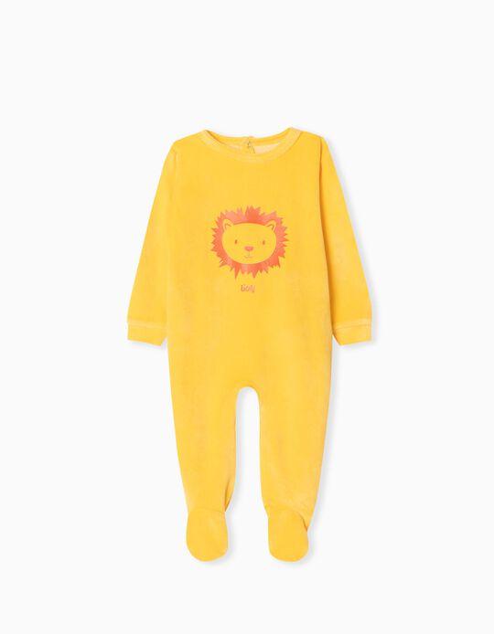 Velour Sleepsuit, Babies, Yellow