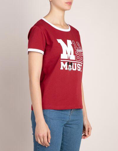 T-shirt estampada e gola em contraste