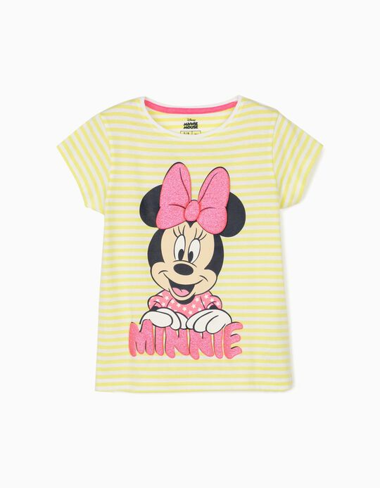 Striped T-Shirt for Girls, 'Minnie Mouse', Lime Yellow/White