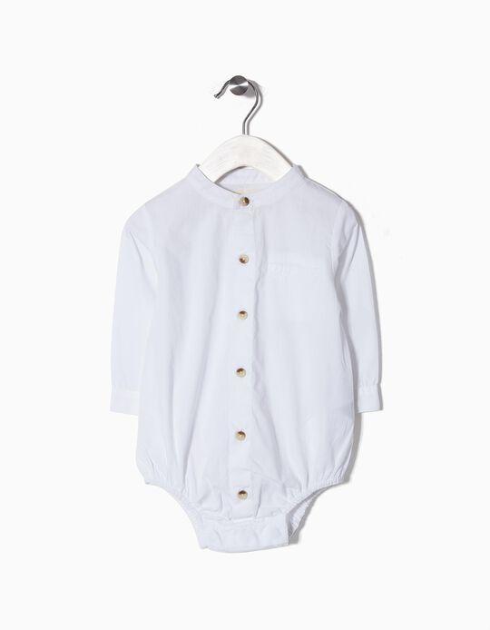 Body-Camisa para Recém Nascido com Gola Mao, Branco
