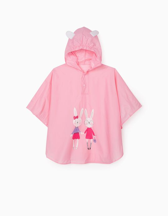 Poncho Rain Cape for Girls 'Bunny', Pink