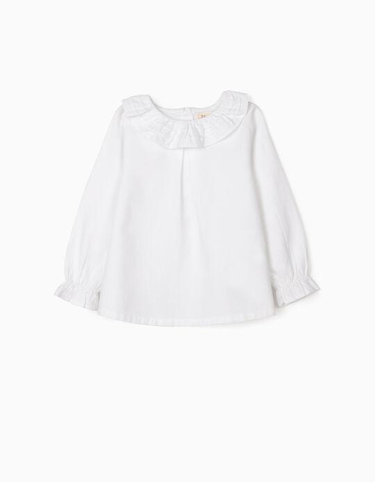 Blusa com Folhos para Bebé Menina, Branco