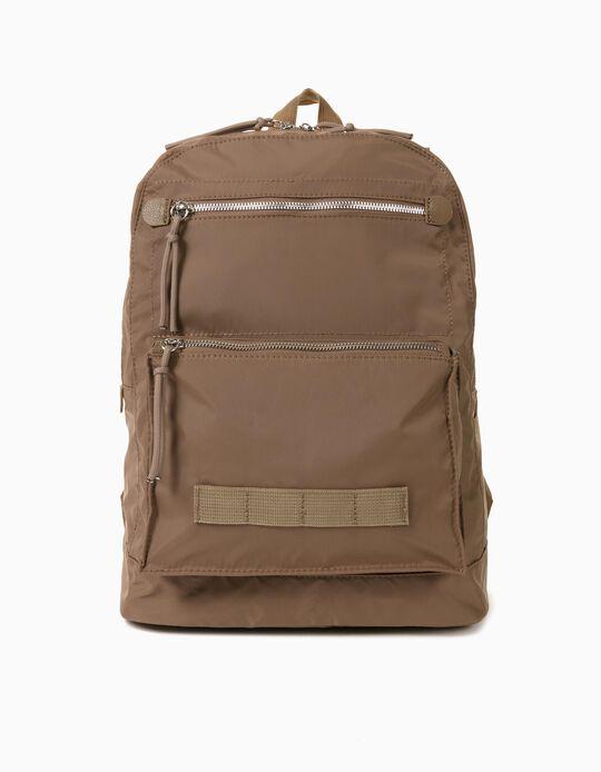 Multi-purpose Nylon Backpack for Men, Beige