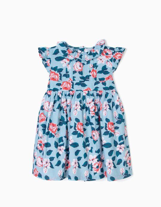 Vestido para Bebé Menina Flores, Azul