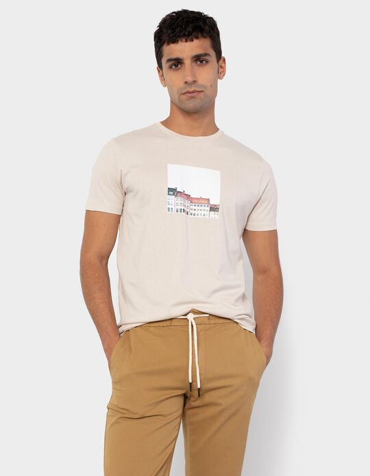 T-shirt in Organic Cotton, Beige