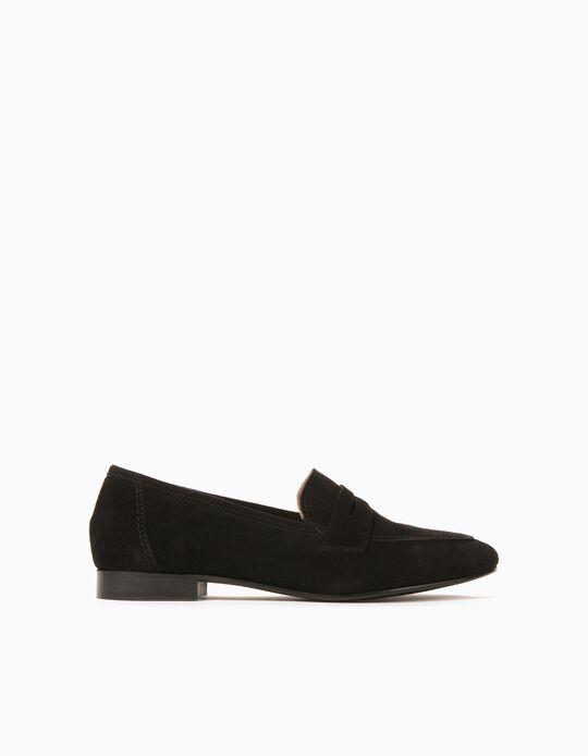 Leather Moccasins for Women, Made in Portugal, Black