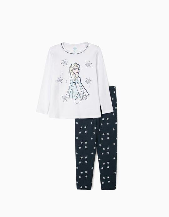 Pyjamas for Girls, 'Frozen II', White/Dark Blue
