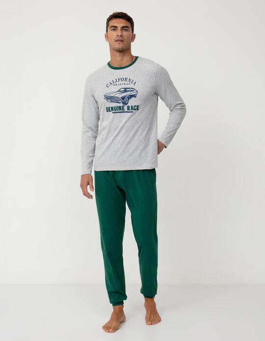 Pijama, Homem, Cinza/ Verde