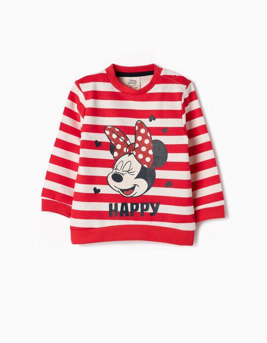 Sweatshirt para Bebé Menina 'Minnie & Riscas', Vermelho e Branco