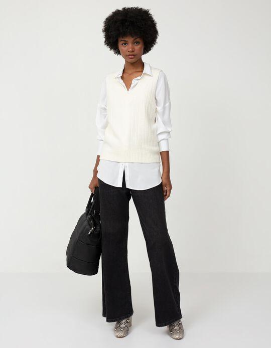 Wide Leg Jeans, Women, Black