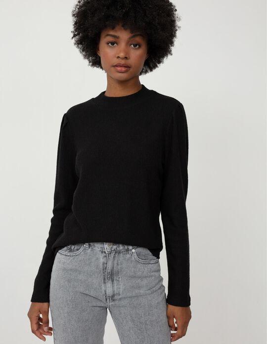 Rib Knit Top, Women, Black