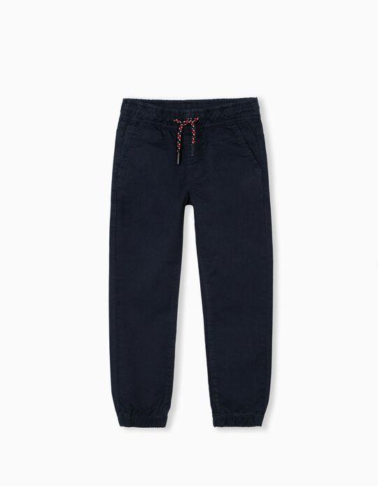 Stretch Twill Trousers for Children, Dark Blue