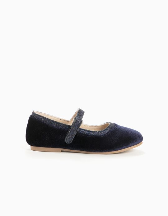 Velvet Ballerinas for Baby Girls, Dark Blue