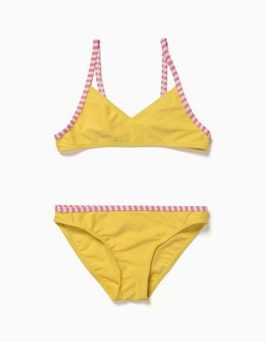 Biquíni Bicolor com Riscas Amarelo