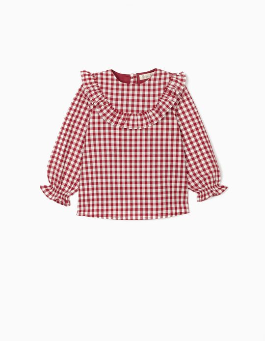 Vichy Tunic for Girls, Red/White