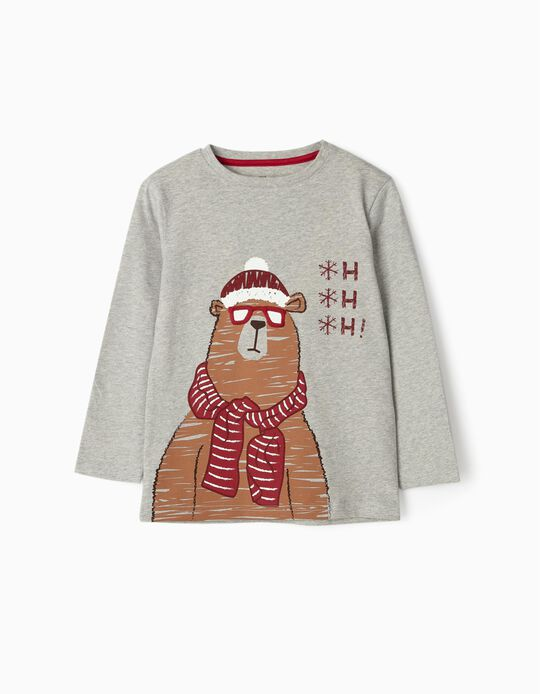 Long Sleeve Top for Boys 'Christmas Bear', Grey