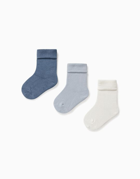 3-Pack Socks with Turndown for Baby, Multicolour