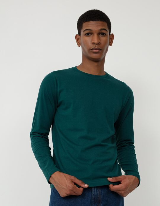Long Sleeve Basic Top, Men, Green