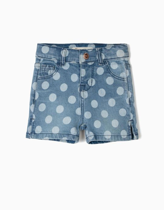 Denim Shorts with Dots for Baby Girls, Blue