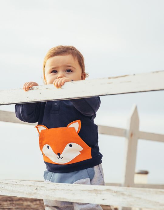 Sweatshirt com Capuz para Bebé Menino 'Fox', Azul Escuro