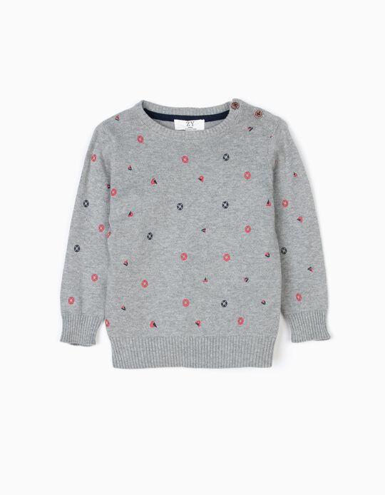 Knit Jumper for Baby Boys 'Sailor', Grey