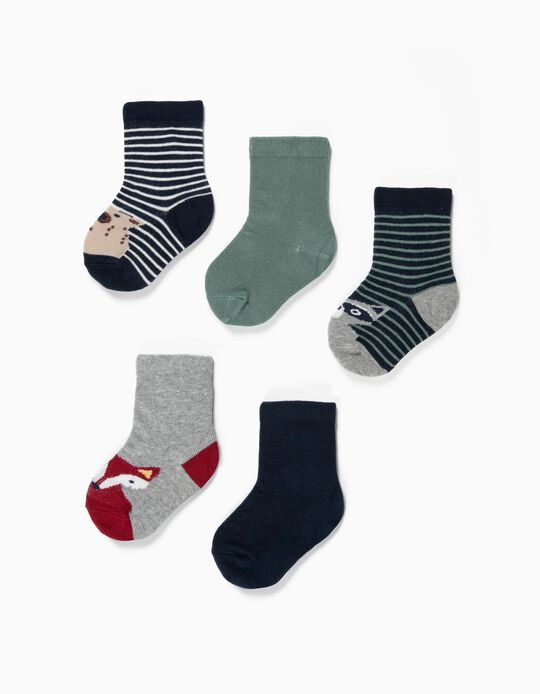 5-Pack Pairs of Socks for Baby Boys 'Strips & Animals', Multicolour