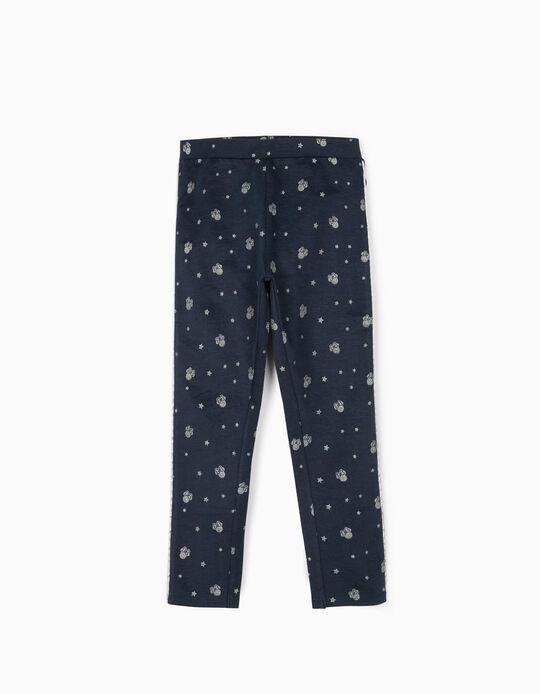 Leggings para Menina 'Minnie', Azul Escuro/Prateado