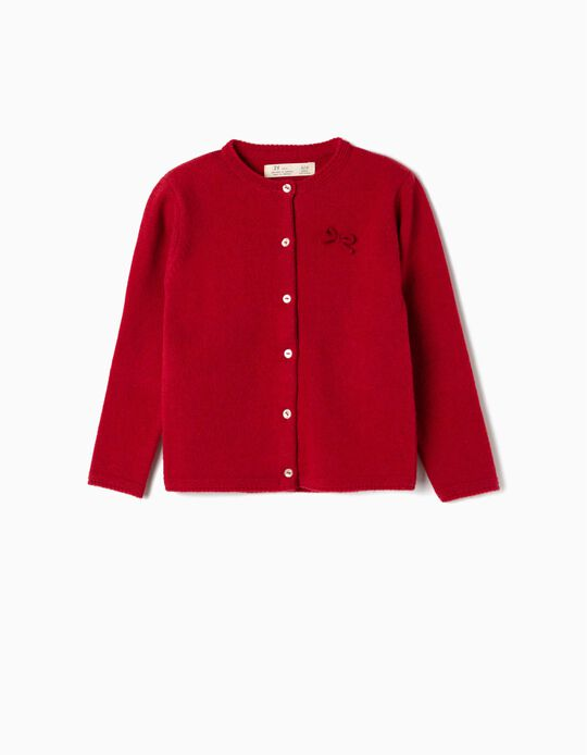 Wool Cardigan for Girls, Red