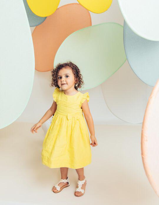 Vestido para Bebé Menina com Laço e Folhos, Amarelo