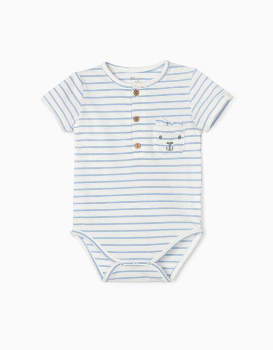 Body Riscas para Bebé Menino, Branco/Azul