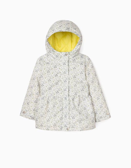 Padded Hooded Jacket for Girls, White