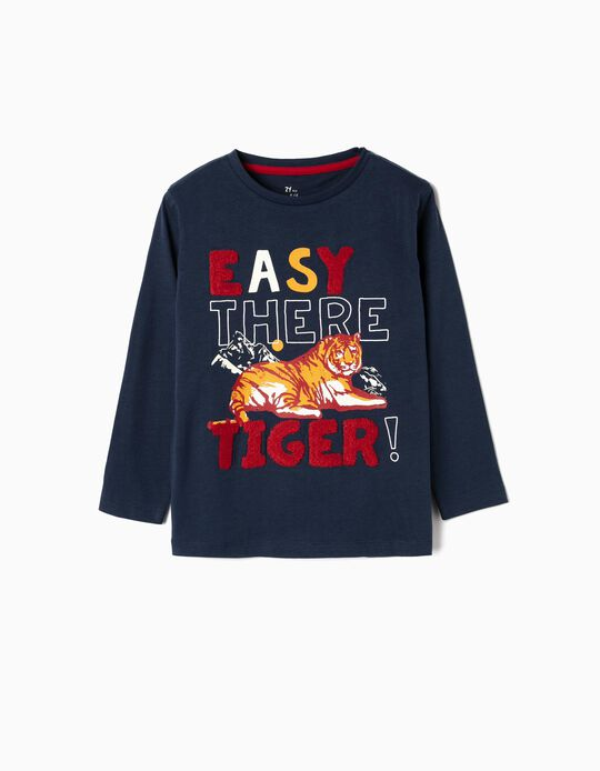 Long-sleeve Top for Boys 'Tiger', Dark Blue