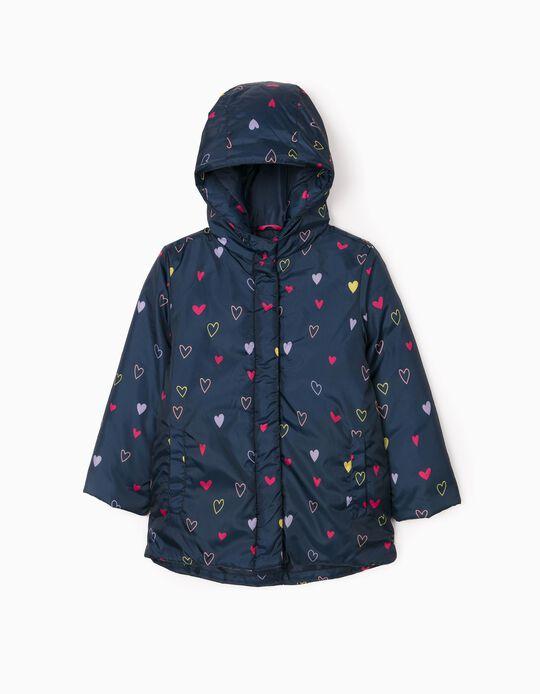 Padded Jacket for Girl 'Heart', Dark Blue