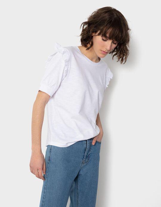 T-shirt Folho Bordado, Mulher