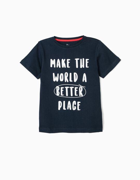 T-shirt para Menino 'Better Place', Azul Escuro