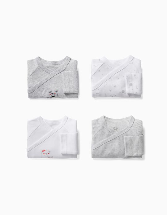 4-Pack Long-sleeve Bodysuits for Newborn 'Space', Grey/White