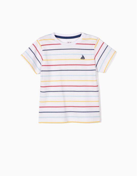 T-shirt para Bebé Menino Riscas Marítimas, Branco