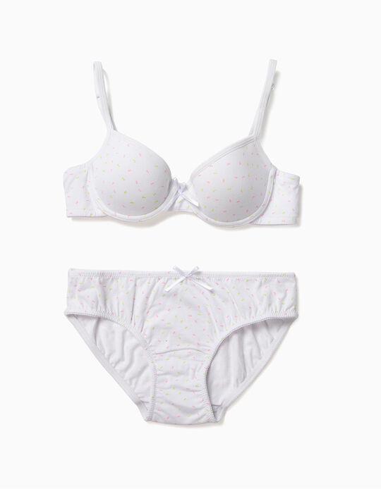 Conjunto Soutien e Cuecas para Menina 'Lacinhos', Branco