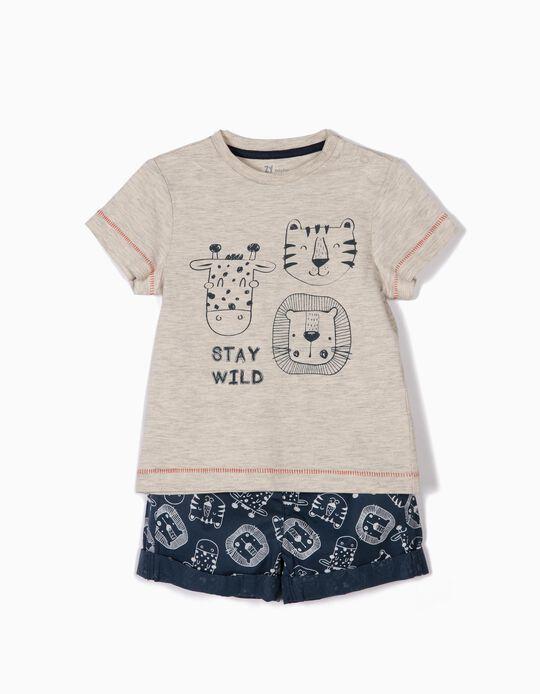 T-shirt e Calções para Bebé Menino 'Animals', Bege e Azul