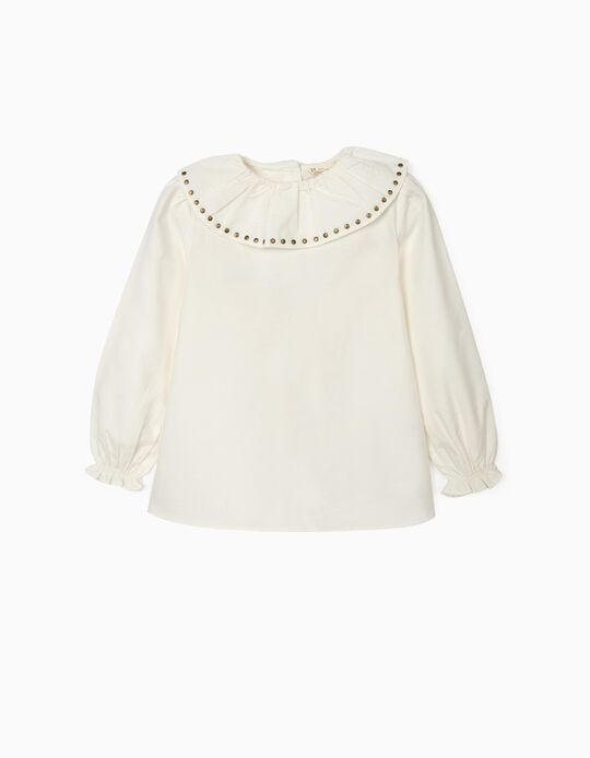 Blouse with Ruffles and Studs for Girls, White