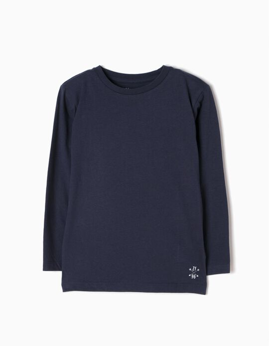 Long Sleeve Top for Boys, Dark Blue