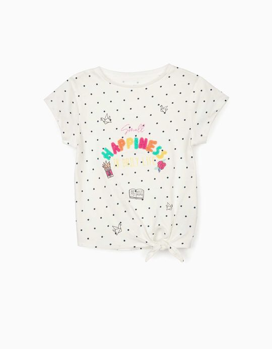 T-shirt for Girls, 'Happiness', White