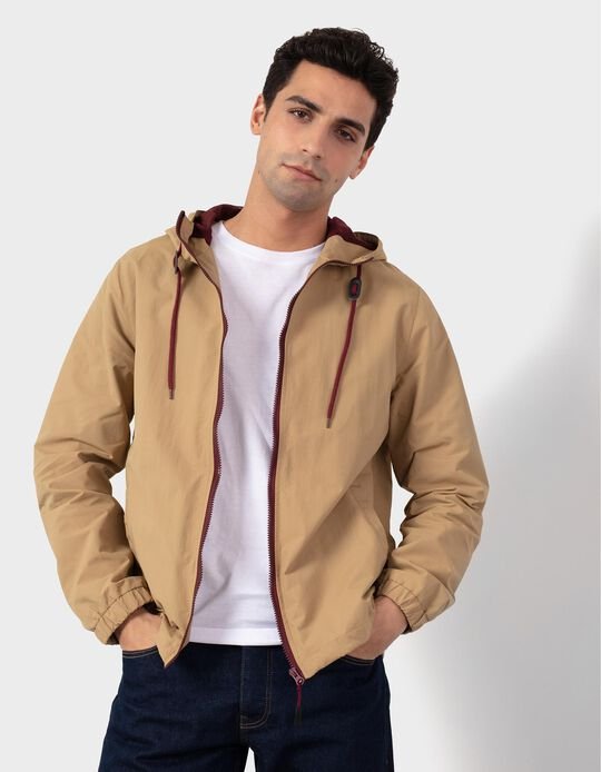 Beige Hooded Jacket, for Men