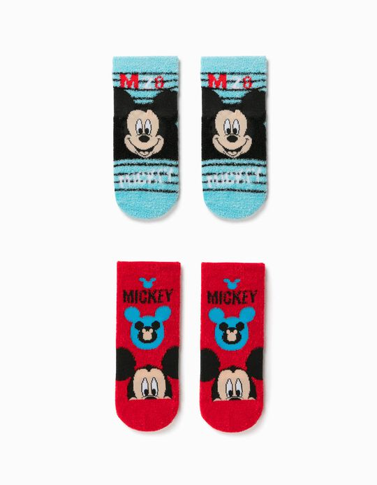 2 Pairs of Non-slip Socks for Boys, 'Mickey Mouse', Blue/Red